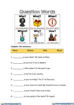 Interactive worksheet Wh-Question