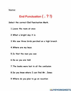 Interactive worksheet End Punctuation Marks