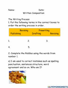 Interactive worksheet The Writing Process