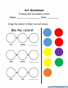 Ficha interactiva Primary and Secondary colors