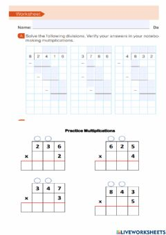 Ficha interactiva Division and multiplication