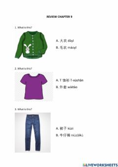 Interactive worksheet Clothes 服装