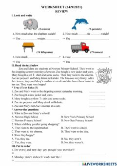 Interactive worksheet EOW 4 - Unit 1: Feeling Fit (8)