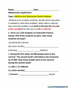 Ficha interactiva Addition and Subtracting Word Problems