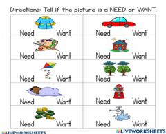 Interactive worksheet Exercise 4th grade need and want