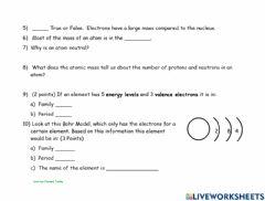 Ficha interactiva Quiz on The Periodic Table and Bohr Models-B