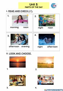 Interactive worksheet Unit 3- Parts of the day