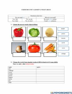 Interactive worksheet Everybody up 3- Lesson 2-Vegetables