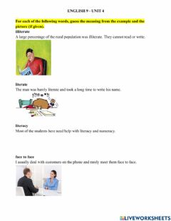 Interactive worksheet E9 - Unit 4 - Vocabulary and Reading (2)