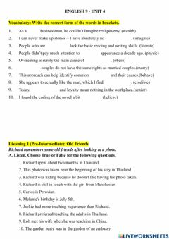 Interactive worksheet E9 - Unit 4 - Vocabulary Review and Listening