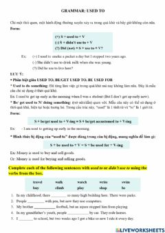 Interactive worksheet E9 - Grammar - Used to