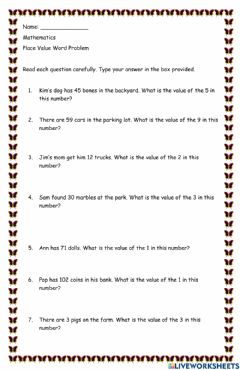 Interactive worksheet Place value word problems