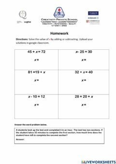 Ficha interactiva Solving equation by adding or subtracting