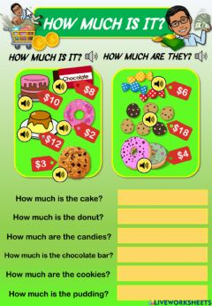 Interactive worksheet How much is it? 2 (Listen, read and answer)