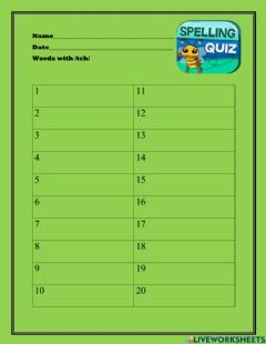 Interactive worksheet Words with -tch-
