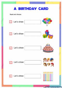 Interactive worksheet Reading : a birthday card  abc