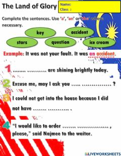 Interactive worksheet Year 6 Unit 12 Land of Glory: Articles