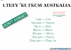 Interactive worksheet They're from Australia: Lesson 4