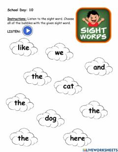 Interactive worksheet Sight word: the