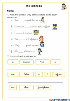 Interactive worksheet The verb to be and jobs