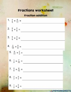 Ficha interactiva Fractions addition and subtraction