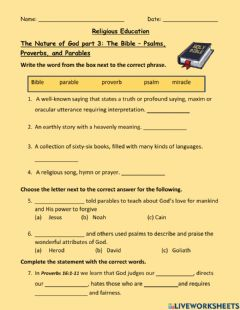 Ficha interactiva The Nature of God Part 3 The Bible Psalms Proverbs Parables