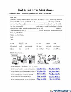 Interactive worksheet Family and friends 5- Unit 1- Lesson 2