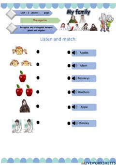 Interactive worksheet My family -SIGULAR AND PLURAL