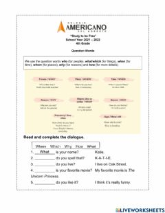 Interactive worksheet Unit 1 - Topic Review