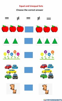 Interactive worksheet Equal and Unequal