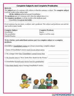 Interactive worksheet Complete Subject and Predicate