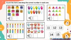 Interactive worksheet Number 11 to 15