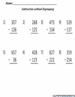 Interactive worksheet Subtraction without Regrouping