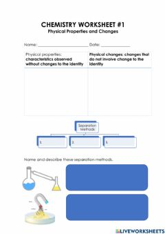 Interactive worksheet Physical Properties and Changes