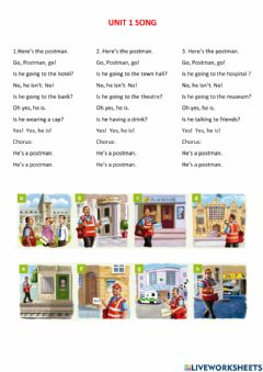 Interactive worksheet Rooftops 4 unit 1 song