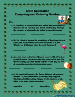 Ficha interactiva Comparing and Ordering Numbers