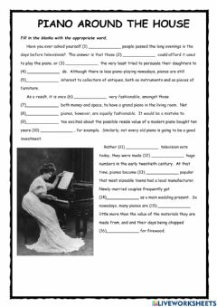 Interactive worksheet Piano Around the House FCE Exercise