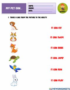 Interactive worksheet My pet can