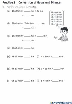 Interactive worksheet Conversion of time