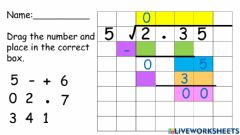 Interactive worksheet Division: Decimal by Whole Number