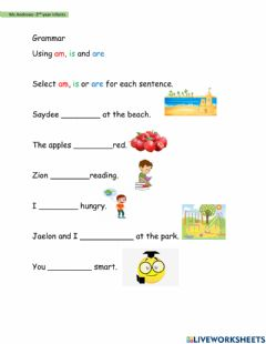 Interactive worksheet Using am, is and are