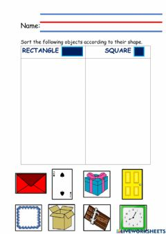 Interactive worksheet Rectangle-square