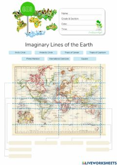 Ficha interactiva Imaginary Lines of the Earth - HuntersWoodsPH.com Worksheet