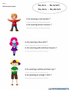 Interactive worksheet Is he-she wearing..?