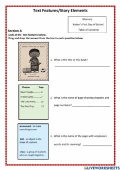 Interactive worksheet Text Features - Story Elements