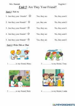 Interactive worksheet Unit 5 are they your friends?