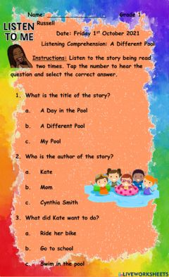 Ficha interactiva Listening Comprehension: A Different Pool