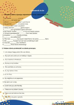 Interactive worksheet To be - affirmatives and negatives