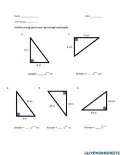 Interactive worksheet Pythagorean Theorem - Find Missing Side - Square Roots