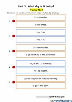 Interactive worksheet E4U3 What day is it today? (Prac No3)